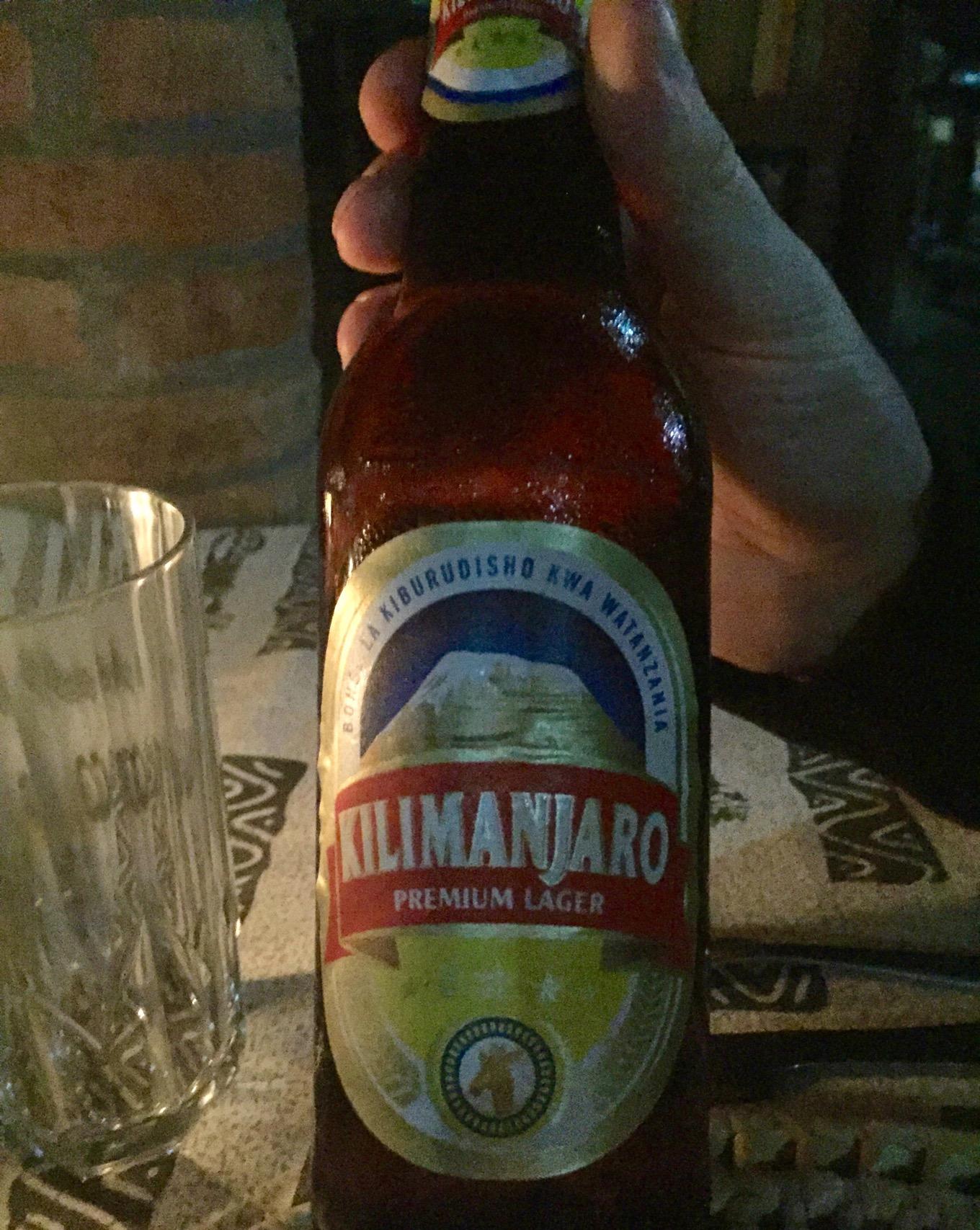 Kilimanjaro beer for dinner at Ambureni Coffee Lodge