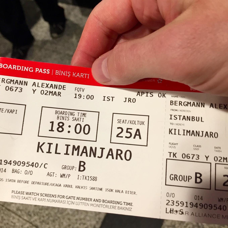 Billet d'Istanbul à l'aéroport de Kilimandjaro