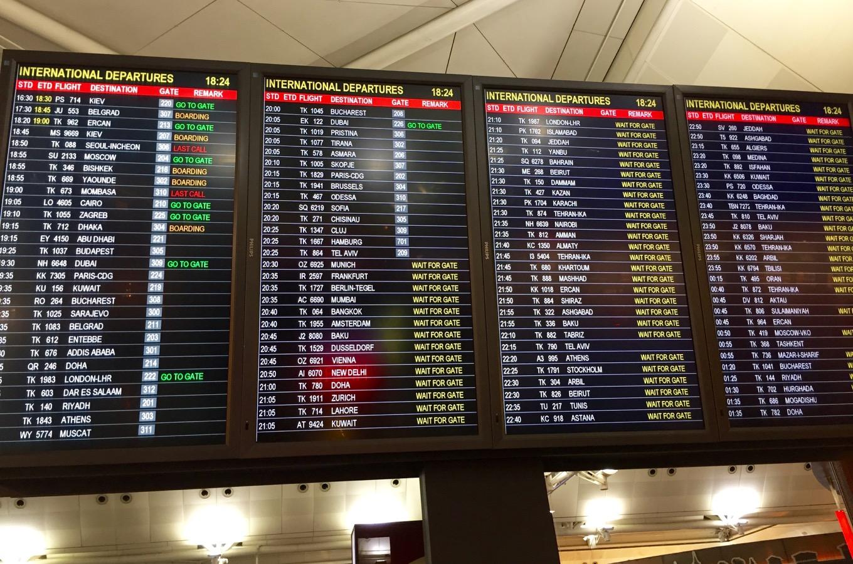 Affichage des horaires de départ des vols depuis l'aéroport de Francfort