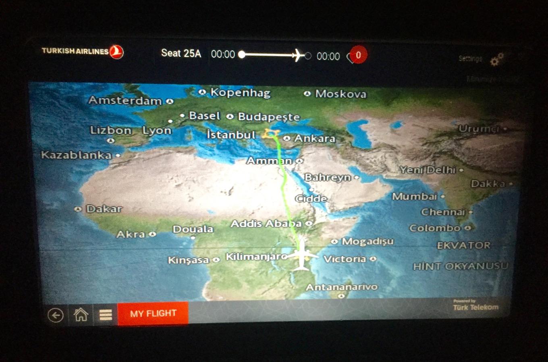 Trajet en avion de la Turquie à la Tanzanie