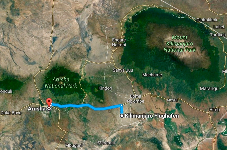 Google maps Arusha Kilimandjaro aéroport
