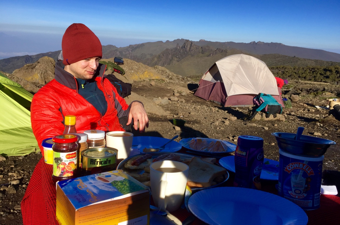 Breakfast at Kilimanjaro in a camp