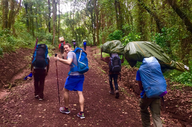 Beginning of hike Machame Gate to Machame Camp