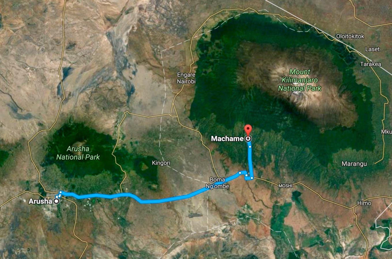 Google maps Arusha Machame Gate
