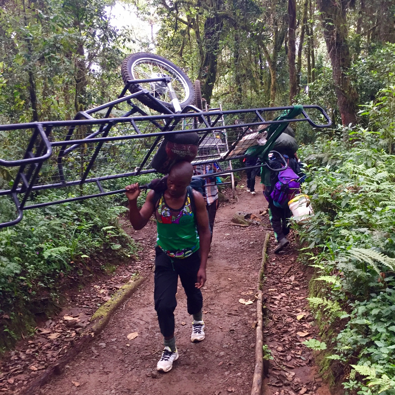 Porters carrying stretchers for saving people