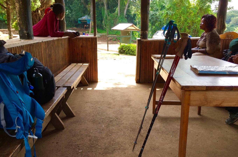Break at Mweka Gate before departure towards Moshi