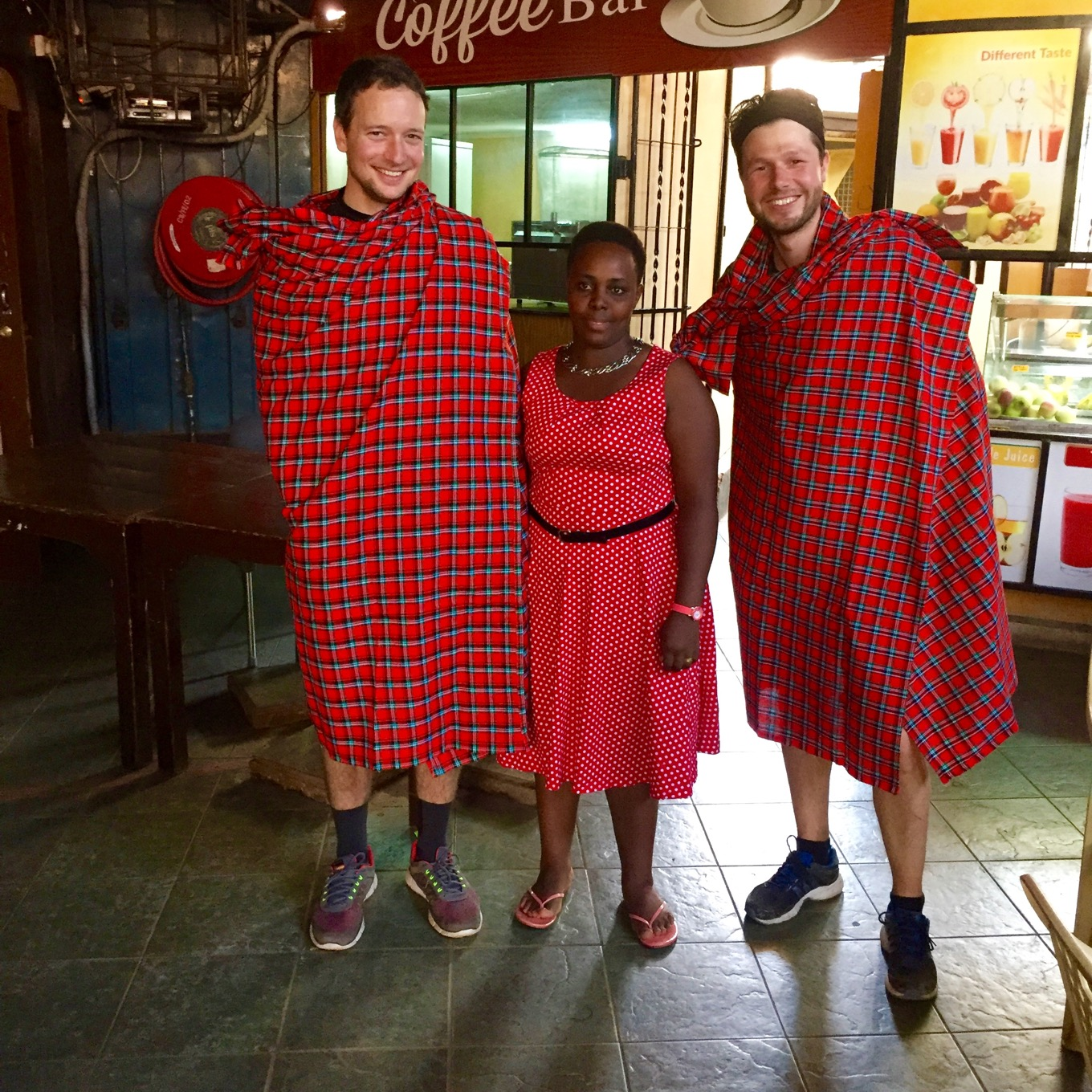 Masai ceremonial robes as present as souvenir