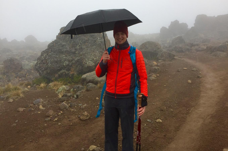 Umbrella during climb of Kilimanjaro