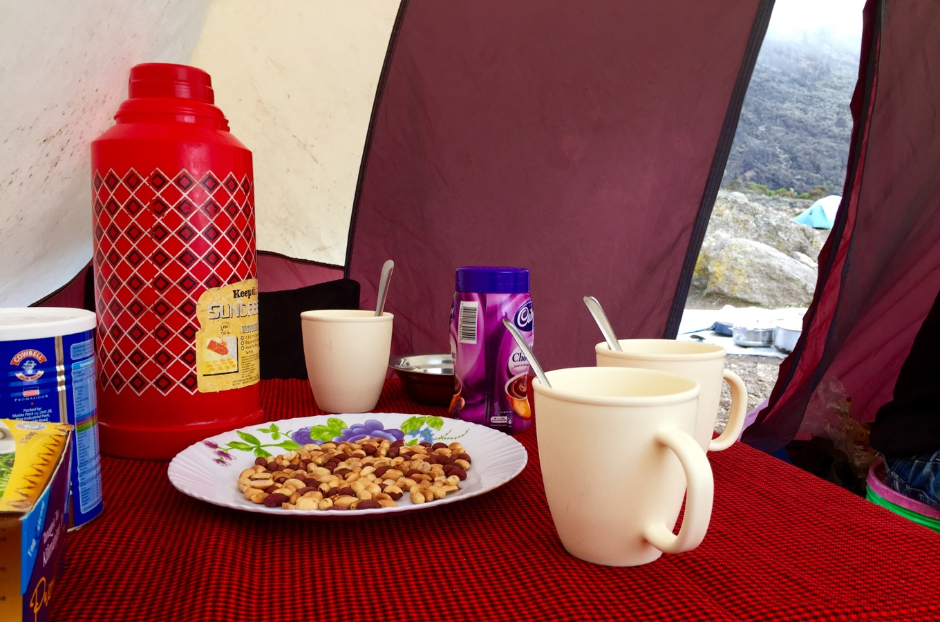 Afternoon snack during climb of Mount Kilimanjaro