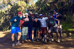 Group photo of the team at Kilimanjaro