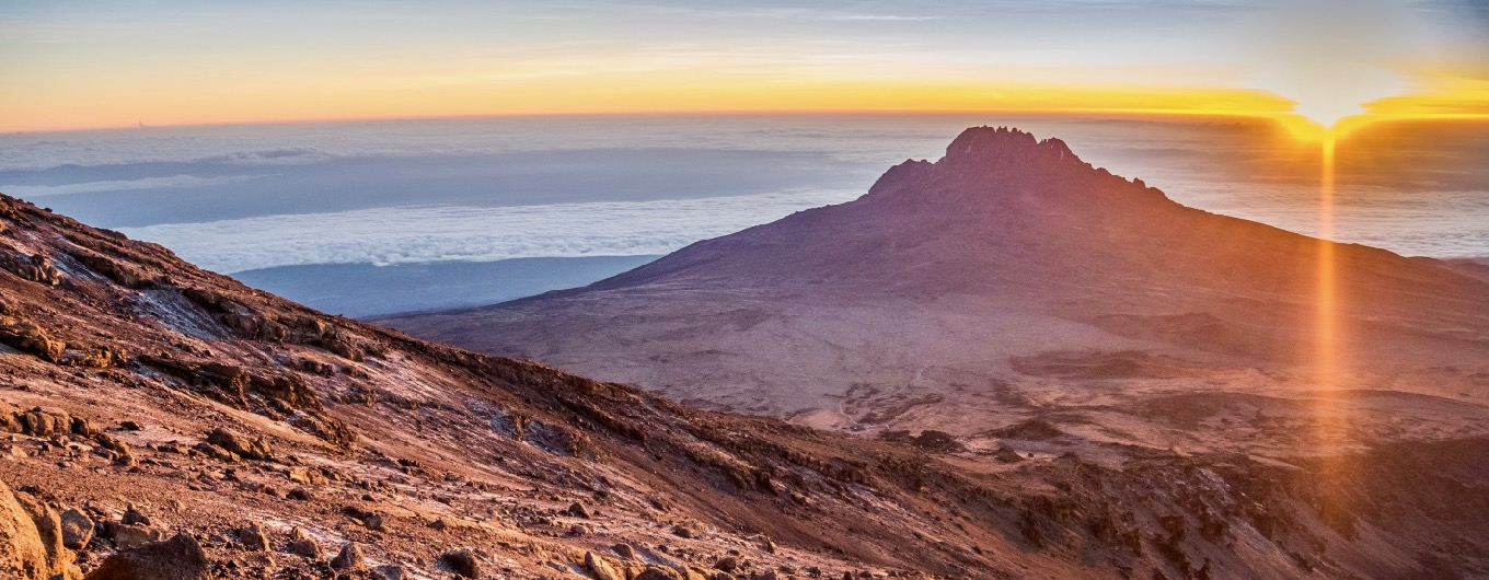 View from Kibo to Mawenzi, the second highest mountain in Kilimanjaro