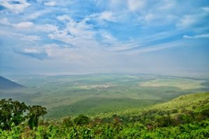 View from the edge of Ngorongoro Crater
