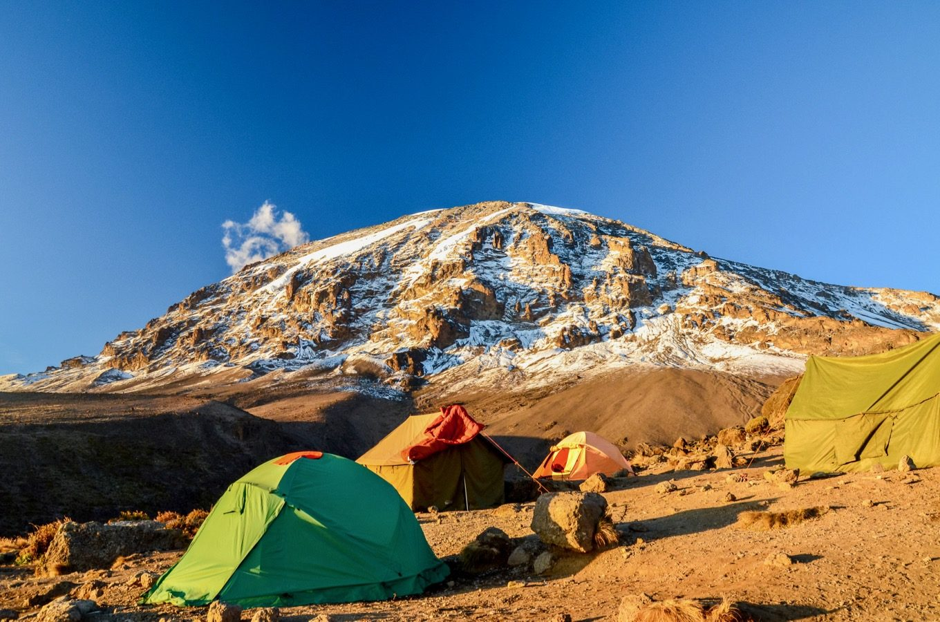 View of Kilimanjaro from a camp with tents