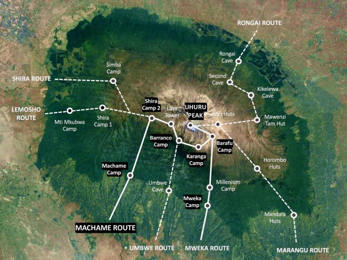 Karte der Wanderroute der Machame Route