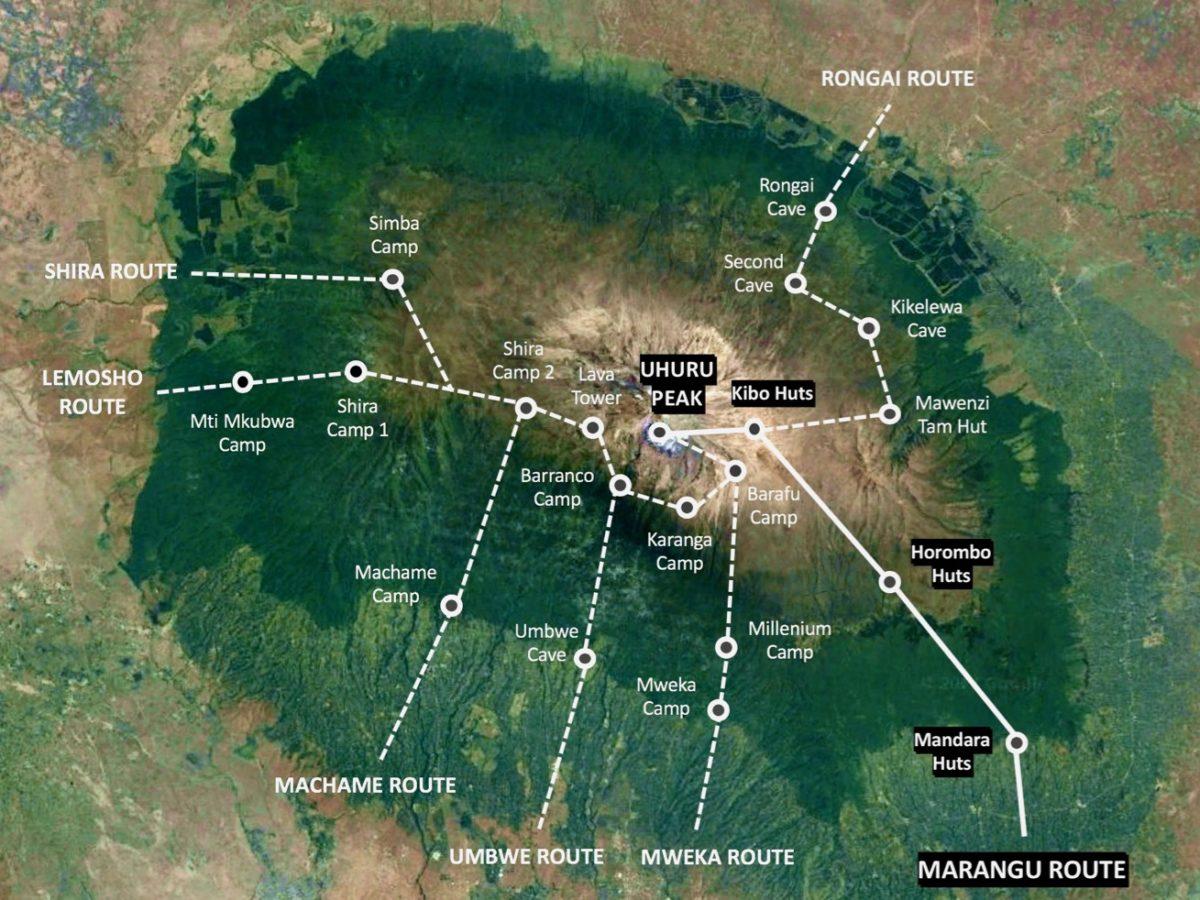 Karte der Wanderroute der Marangu Route