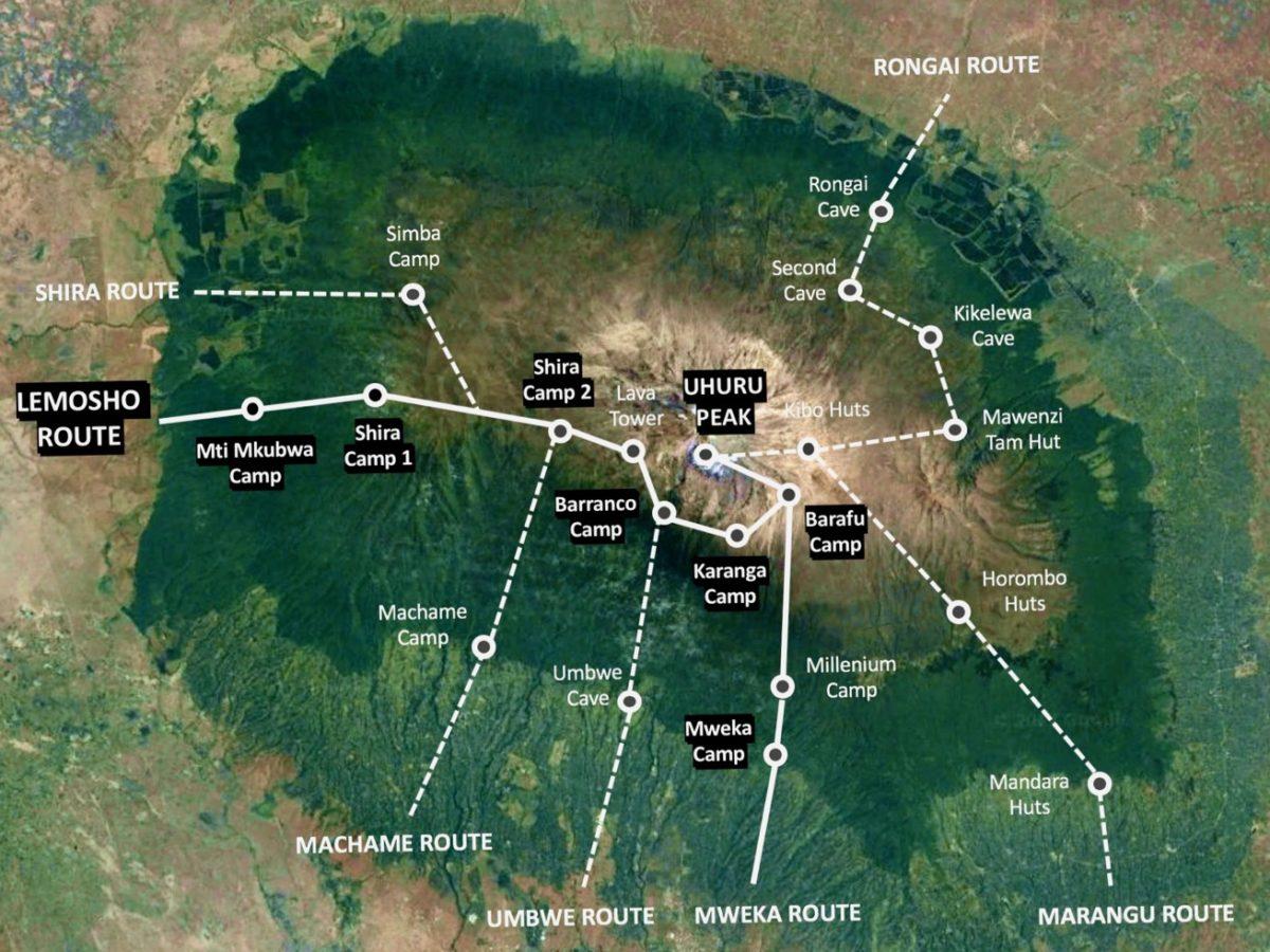 Carte de l'itinéraire de randonnée de la Route Lemosho
