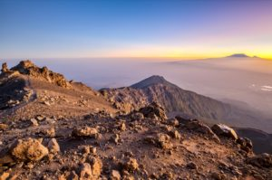 Sunrise shortly before reaching the summit of Mount Meru