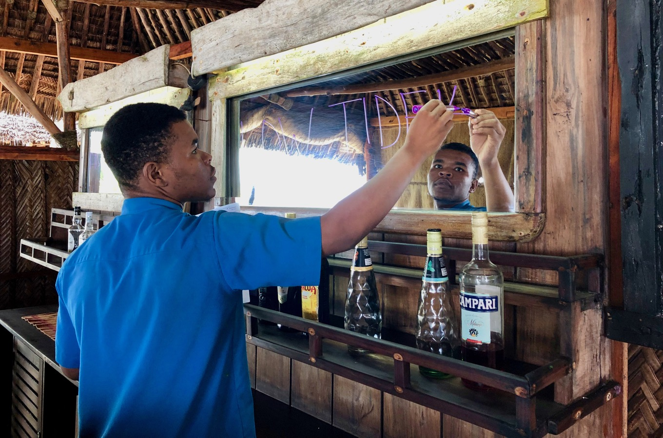 Waiter at The Tides Lodge in Tanzania