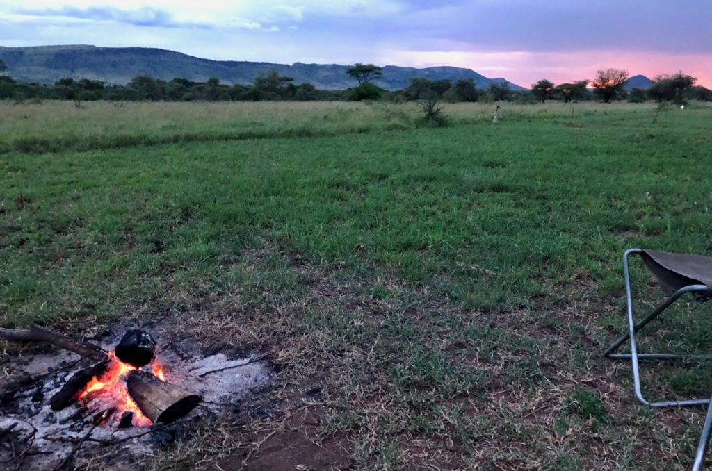 Evening campfire at Serengeti Thorn Tree Camp