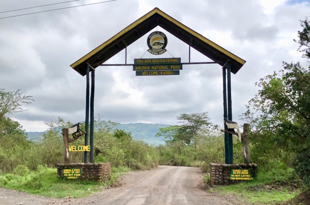 The entrance sign of the Arusha National Park