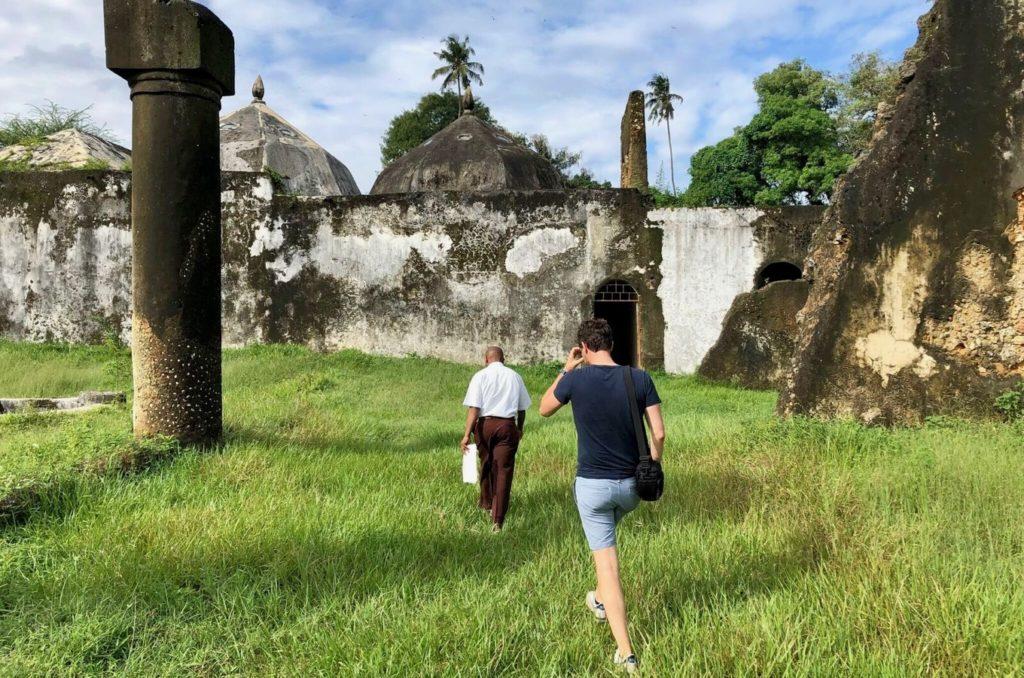 Walking through ruins on Zanzibar