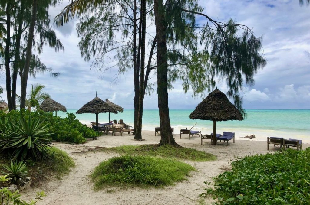 Beach of Zanzibar with sunshades