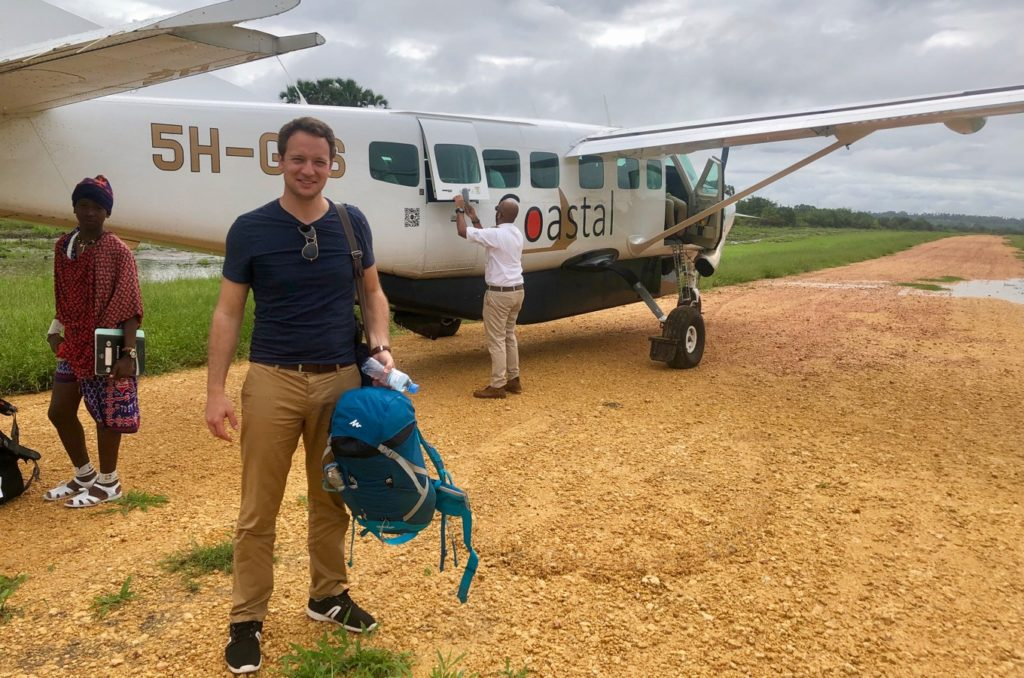 Alex on the Airstrip at Ushongo Beach in Pangani